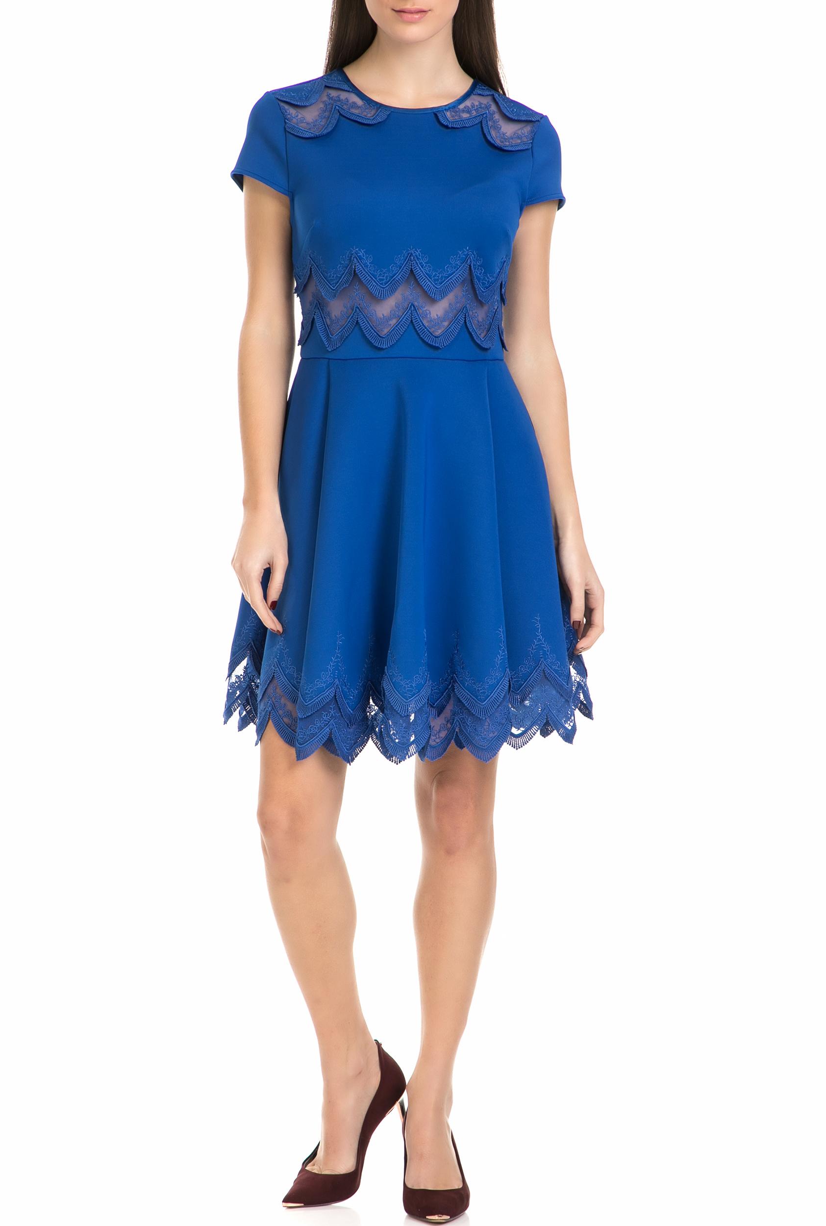 TED BAKER - Γυναικείο μίνι φόρεμα REHANNA EMBROIDERED CAP SKATER μπλε γυναικεία ρούχα φορέματα μίνι