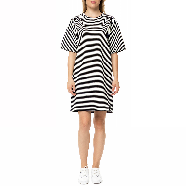 CALVIN KLEIN JEANS - Γυναικείο μίνι φόρεμα Calvin Klein Jeans DAISY ριγέ ασπρόμα γυναικεία ρούχα φορέματα μίνι