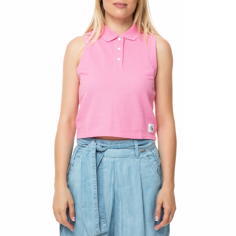 c572128724db CALVIN KLEIN JEANS - Γυναικεία αμάνικη πόλο μπλούζα Calvin Klein Jeans  LEDINO ροζ