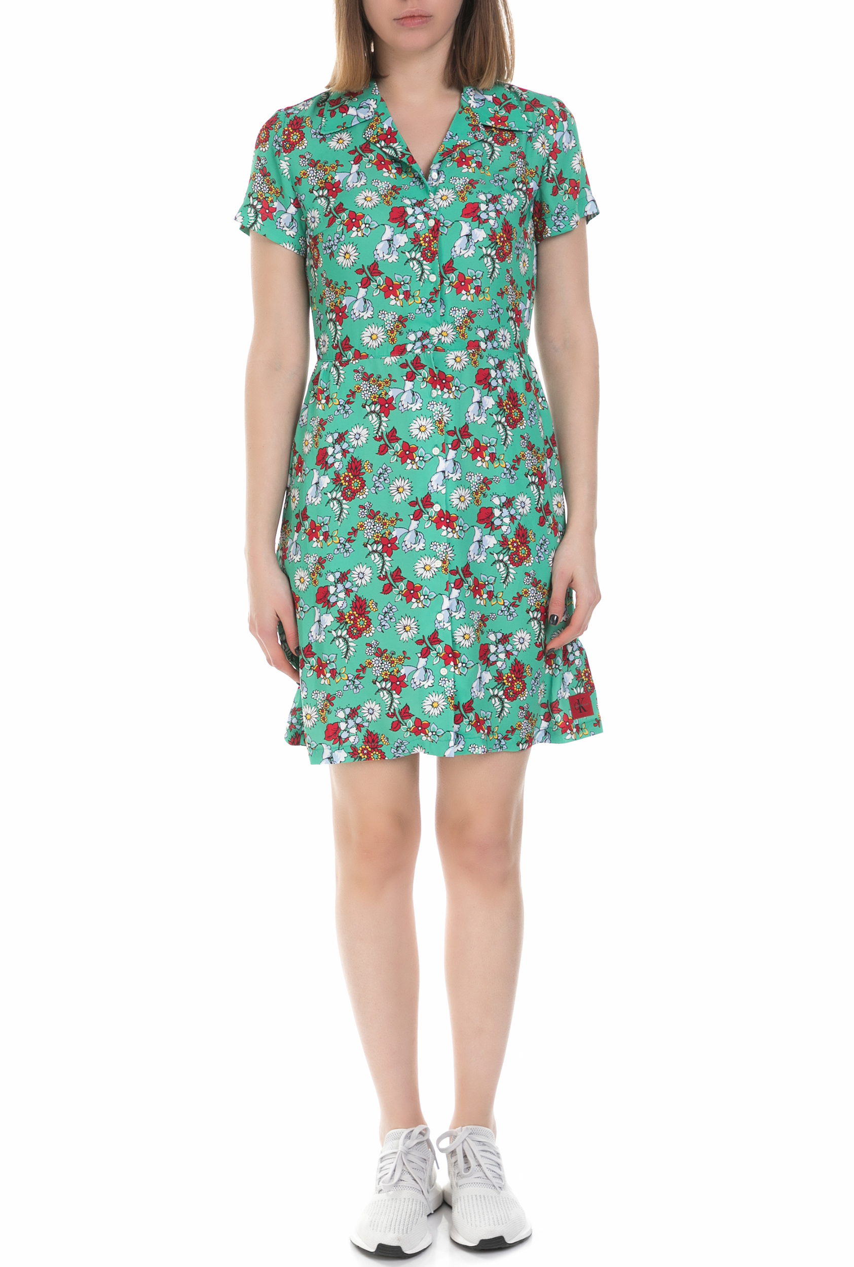 8aca0599af6 CALVIN KLEIN JEANS - Γυναικείο μίνι φλοράλ φόρεμα Calvin Klein Jeans πράσινο