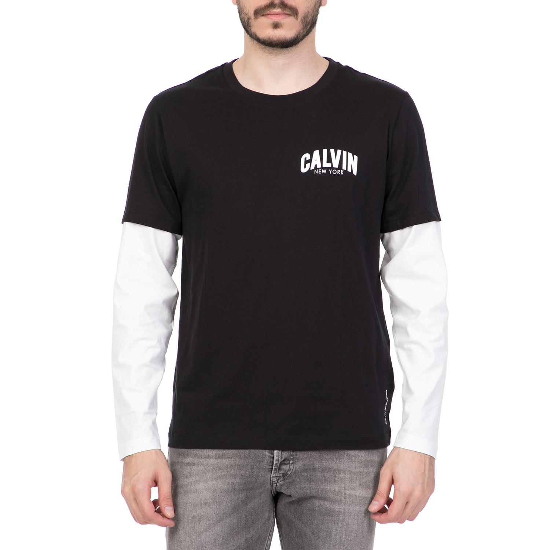 0f294221b098 CALVIN KLEIN JEANS - Ανδρική μακρυμάνικη μπλούζα CALVIN KLEIN JEANS  μαύρη-λευκή