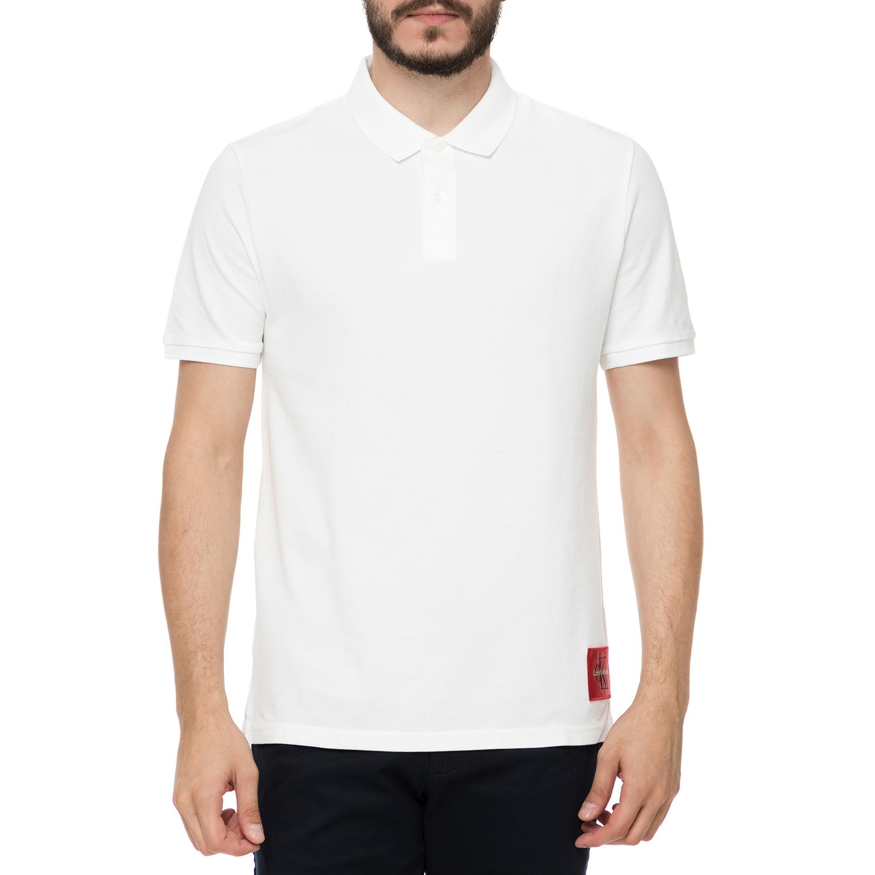 CALVIN KLEIN JEANS - Ανδρική κοντομάνικη polo μπλούζα Calvin Klein Jeans  PONTOS REGULAR λευκή 98afe7ca17c