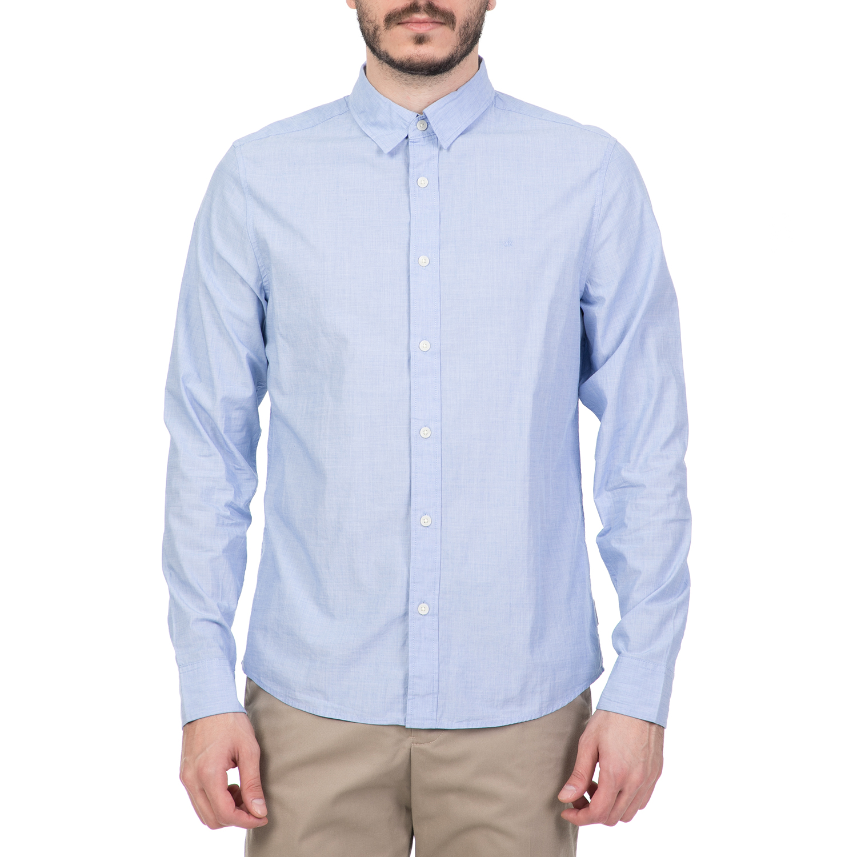 CALVIN KLEIN JEANS - Ανδρικό μακρυμάνικο πουκάμισο CALVIN KLEIN JEANS γαλάζιο ανδρικά ρούχα πουκάμισα μακρυμάνικα