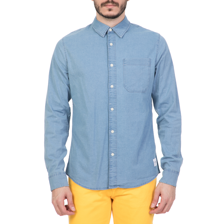 494b3128f85c CALVIN KLEIN JEANS - Ανδρικό τζιν πουκάμισο CALVIN KLEIN JEANS γαλάζιο