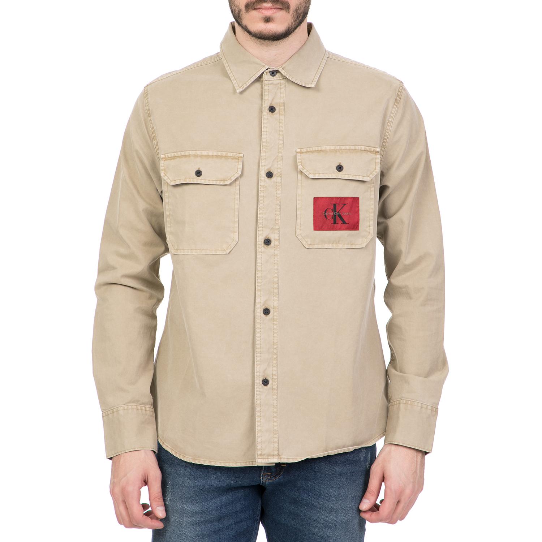 CALVIN KLEIN JEANS - Ανδρικό μακρυμάνικο πουκάμισο CALVIN KLEIN JEANS καφέ ανδρικά ρούχα πουκάμισα μακρυμάνικα