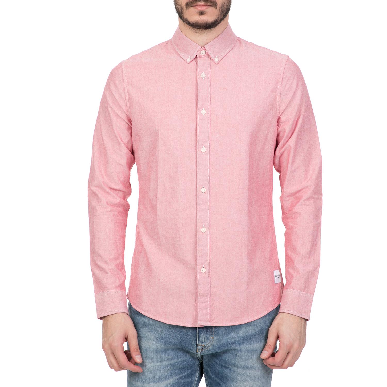 CALVIN KLEIN JEANS - Ανδρικό μακρυμάνικο πουκάμισο CALVIN KLEIN JEANS κόκκινο ανδρικά ρούχα πουκάμισα μακρυμάνικα
