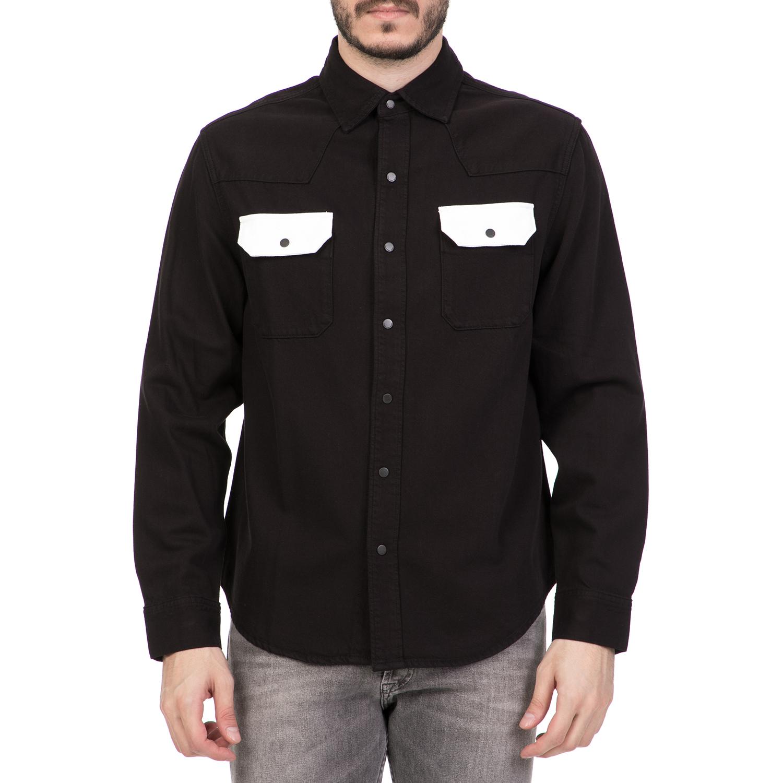4abdc09863 CALVIN KLEIN JEANS – Ανδρικό μακρυμάνικο πουκάμισο CALVIN KLEIN JEANS μαύρο  1613268.0-0081