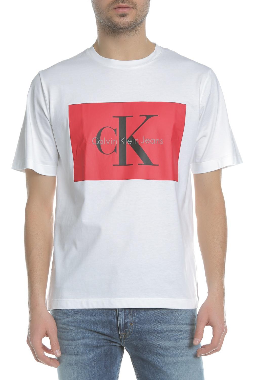 CALVIN KLEIN JEANS - Ανδρική κοντομάνικη μπλούζα Calvin Klein Jeans TIKIMO  2 REGULAR λευκή με στάμπα ebc865d781a
