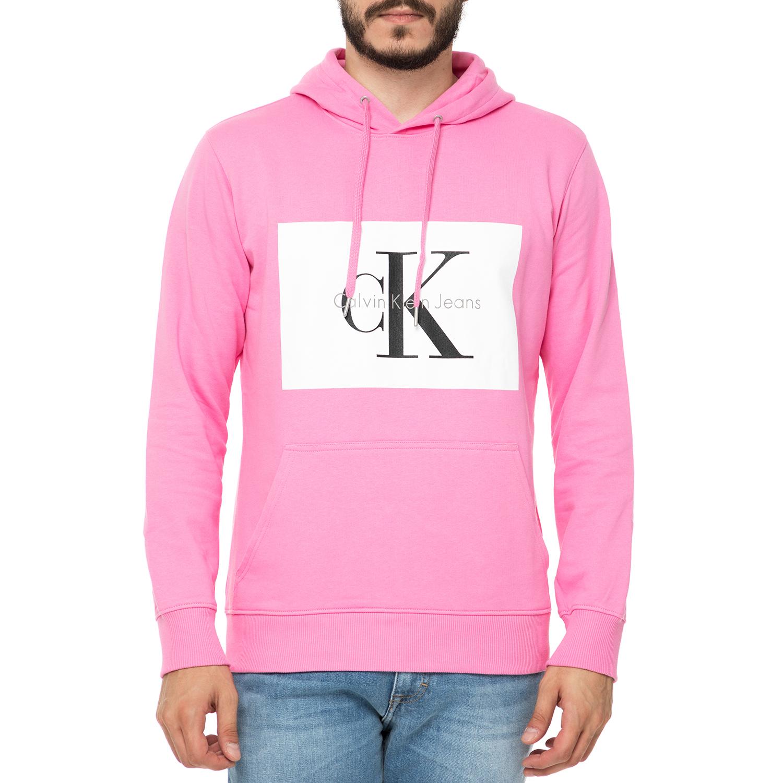 CALVIN KLEIN JEANS - Ανδρική φούτερ μπλούζα με κουκούλα Calvin Klein Jeans  HOTORO 2 REGULAR ροζ 1ec80132b24