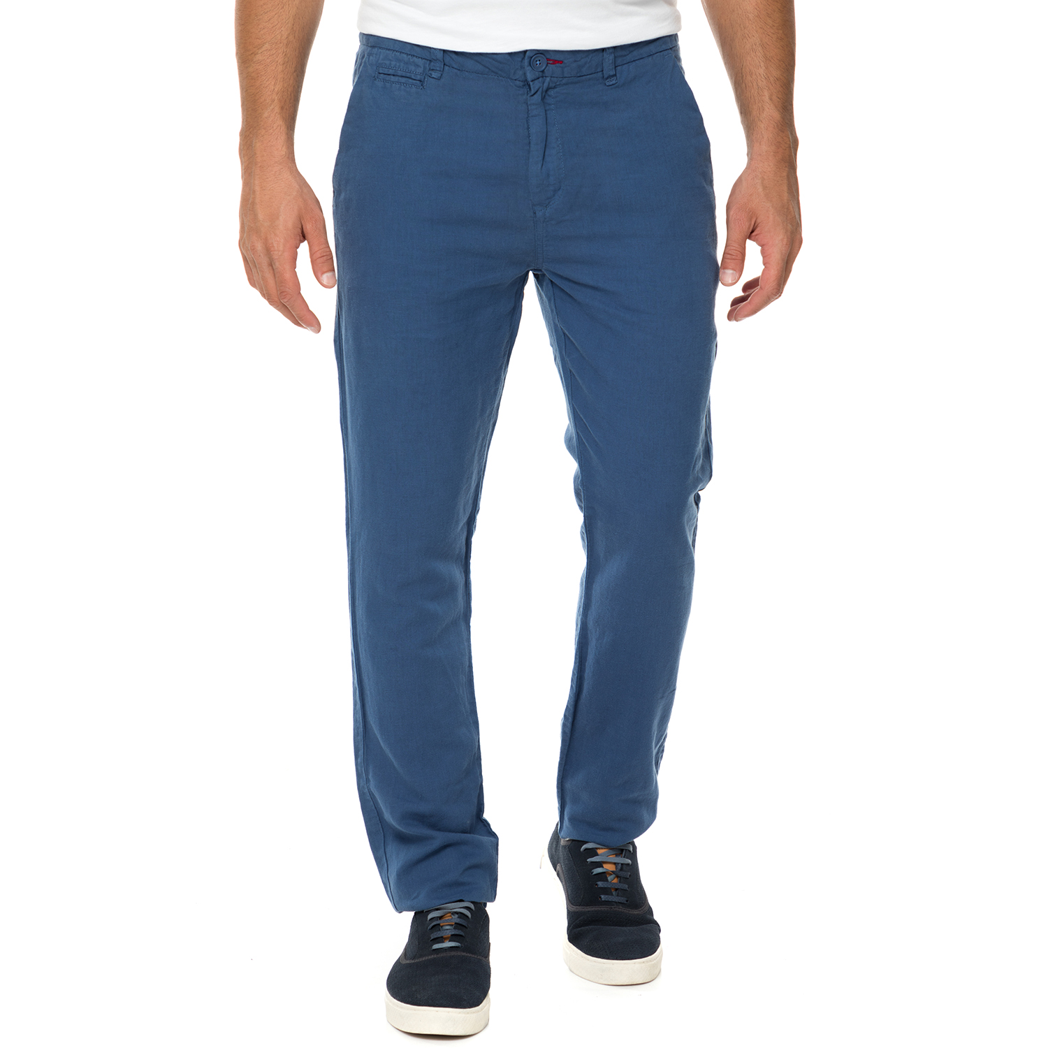 GUESS - Ανδρικό λινό παντελόνι chino GUESS ALAIN SLIM STRAIGHT μπλε 043dfce68e6