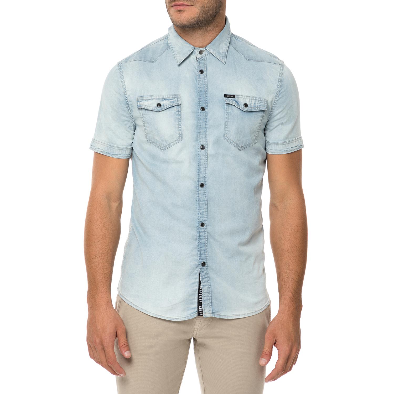 GUESS - Ανδρικό κοντομάνικο τζιν πουκάμισο GUESS TRUCKEE γαλάζιο 00c5637f2fc