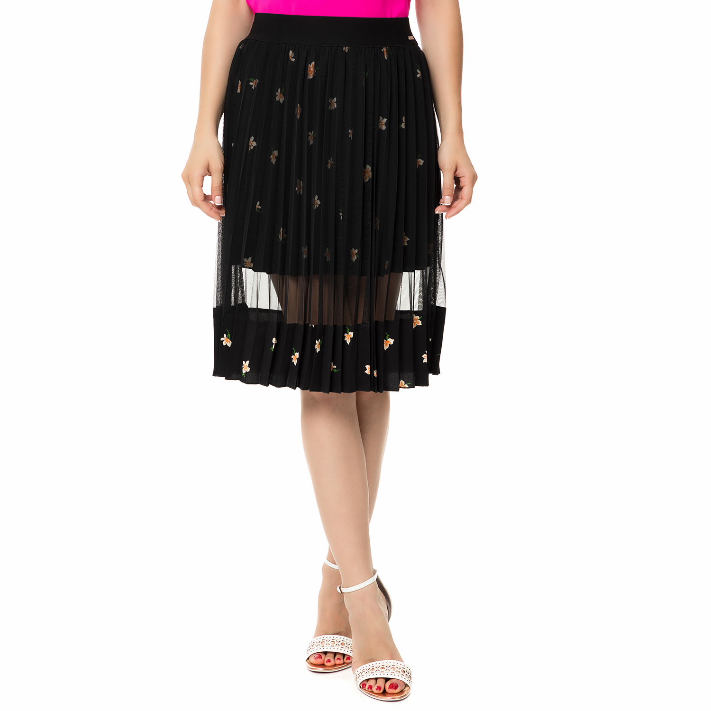 GUESS - Γυναικεία μίνι πλισέ φούστα με ημιδιαφάνεια GUESS LUCINDA μαύρη 311c6f4dfa3