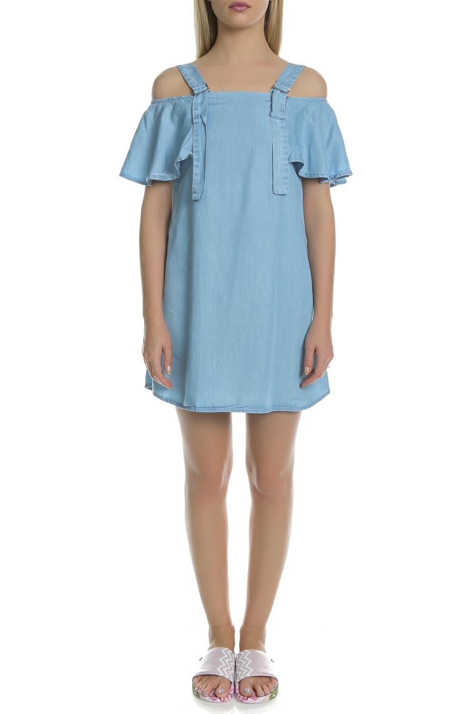 GUESS - Γυναικείο τζιν μίνι φόρεμα Guess μπλε γυναικεία ρούχα φορέματα μίνι