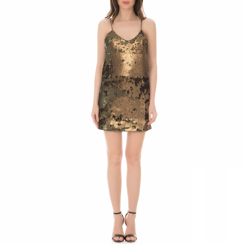 867f3c293e8 GrabitApp · GUESS - Γυναικείο μίνι φόρεμα GUESS MARLEE χρυσό-λαδί