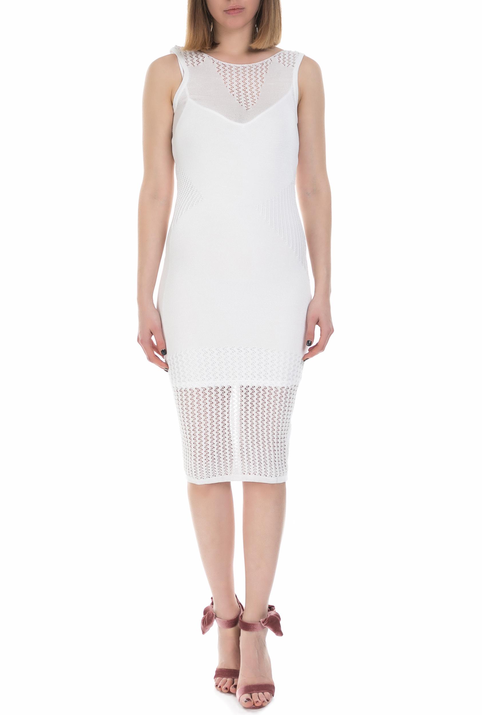 GUESS - Γυναικείο midi αμάνικο φόρεμα Guess λευκό γυναικεία ρούχα φορέματα μέχρι το γόνατο
