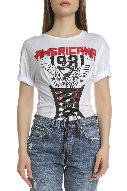 GUESS - Γυναικείο t-shirt με σχέδιο AMERICANA TOP GUESS λευκό