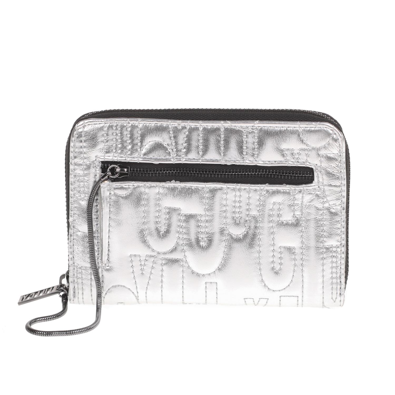 JUICY COUTURE - Γυναικείο πορτοφόλι με φερμουάρ ALEXIS JUICY COUTURE ασημί γυναικεία αξεσουάρ πορτοφόλια μπρελόκ πορτοφόλια