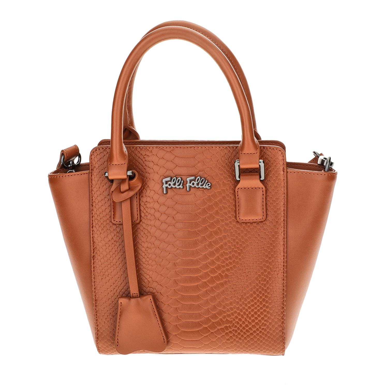 FOLLI FOLLIE - Γυναικεία μικρή τσάντα χειρός με print φιδιού Folli Follie καφέ γυναικεία αξεσουάρ τσάντες σακίδια χειρός
