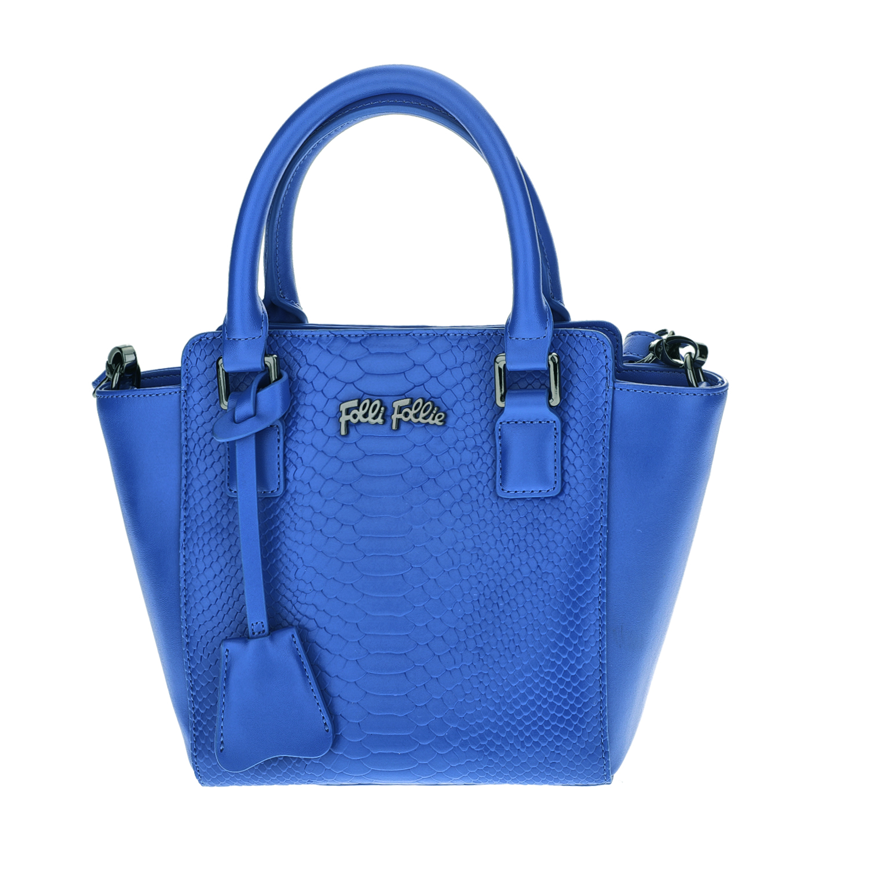 FOLLI FOLLIE - Γυναικεία μικρή τσάντα χειρός με print φιδιού Folli Follie μπλε γυναικεία αξεσουάρ τσάντες σακίδια χειρός