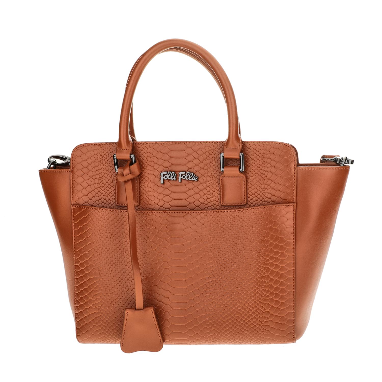 FOLLI FOLLIE - Γυναικεία μεσαία τσάντα χειρός με print φιδιού Folli Follie καφέ γυναικεία αξεσουάρ τσάντες σακίδια χειρός