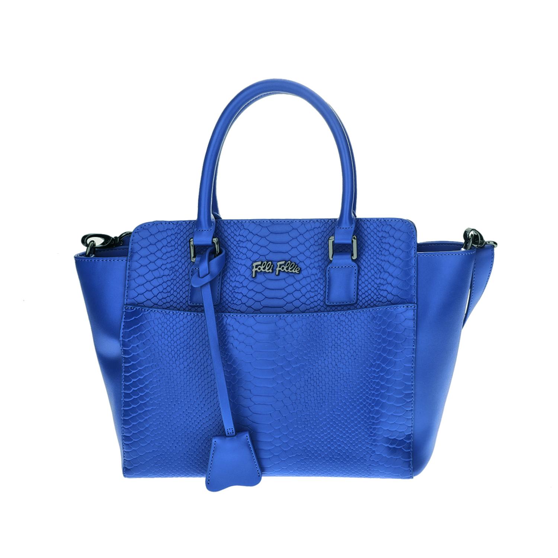 FOLLI FOLLIE - Γυναικεία μεσαία τσάντα χειρός με print φιδιού Folli Follie μπλε
