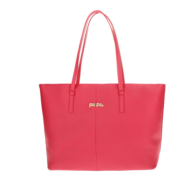 FOLLI FOLLIE - Γυναικεία μεγάλη τσάντα ώμου Folli Follie φούξια γυναικεία αξεσουάρ τσάντες σακίδια ωμου
