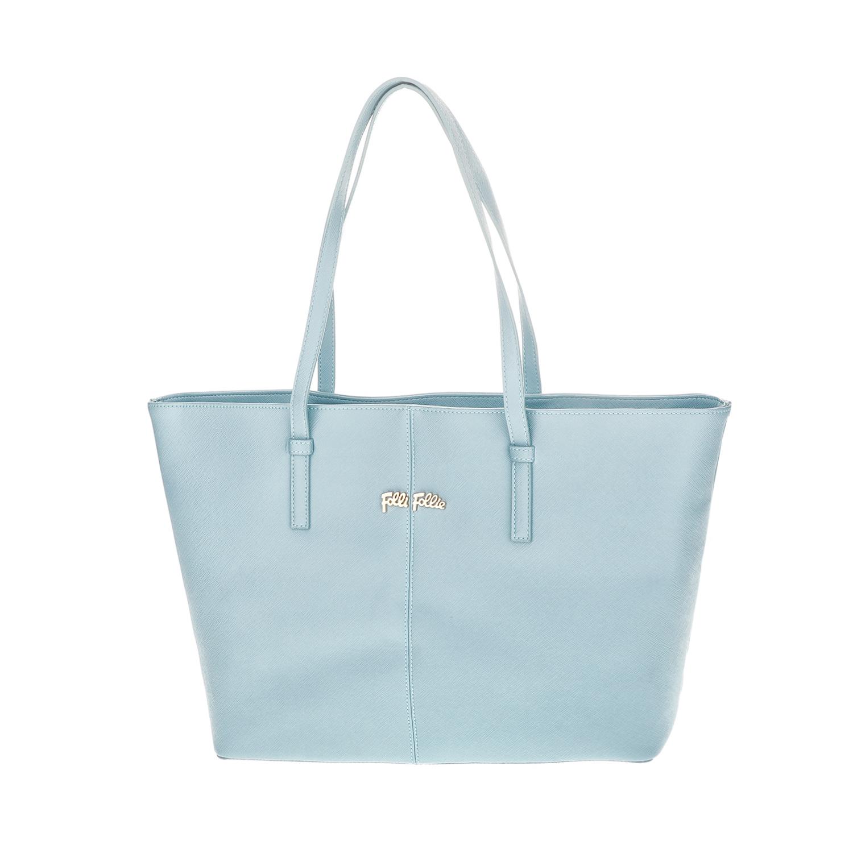 FOLLI FOLLIE - Γυναικεία μεγάλη τσάντα ώμου Folli Follie γαλάζια γυναικεία αξεσουάρ τσάντες σακίδια ωμου