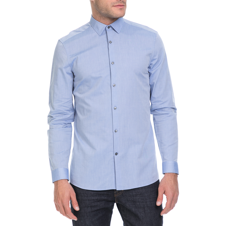 CALVIN KLEIN JEANS - Ανδρικό πουκάμισο WALLACE MICRO μπλε ανδρικά ρούχα πουκάμισα μακρυμάνικα