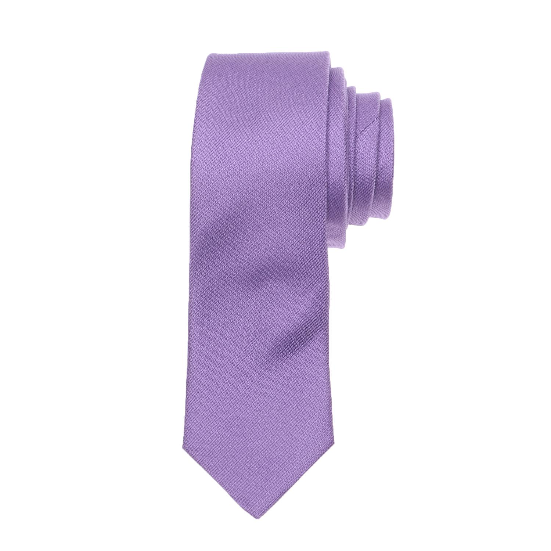 CK - Ανδρική γραβάτα CK MICRO RIB SOLID μωβ
