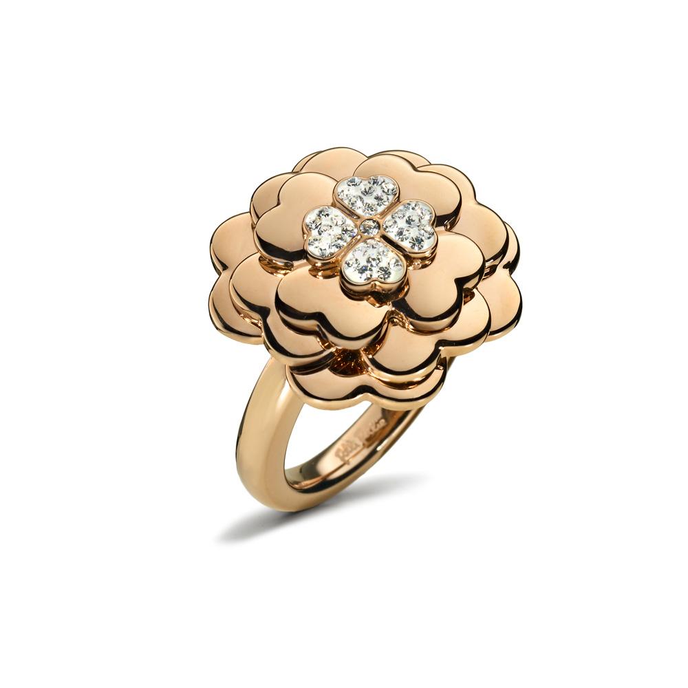 FOLLI FOLLIE - Γυναικείο δαχτυλίδι με λουλούδι FOLLI FOLLIE ροζ-χρυσό γυναικεία αξεσουάρ κοσμήματα δαχτυλίδια