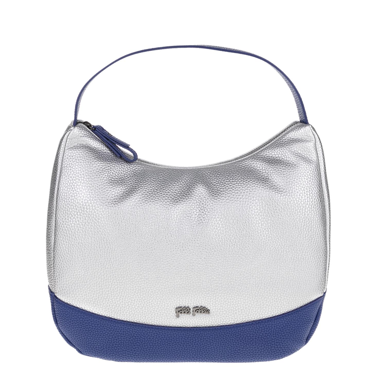 FOLLI FOLLIE - Γυναικεία τσάντα ώμου FOLLI FOLLIE ασημί-μπλε γυναικεία αξεσουάρ τσάντες σακίδια ωμου
