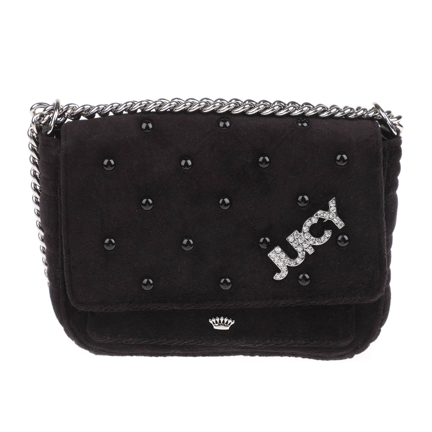 JUICY COUTURE - Γυναικείο τσαντάκι χιαστί BOBBLE VELOUR LIL JUICY COUTURE μαύρο γυναικεία αξεσουάρ τσάντες σακίδια χιαστή   cross body