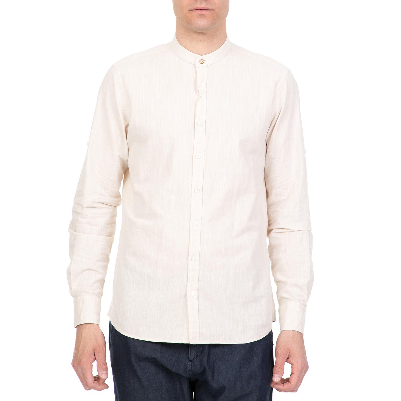 2cd7d60a96e9 SORBINO - Ανδρικό μακρυμάνικο πουκάμισο SORBINO μπεζ