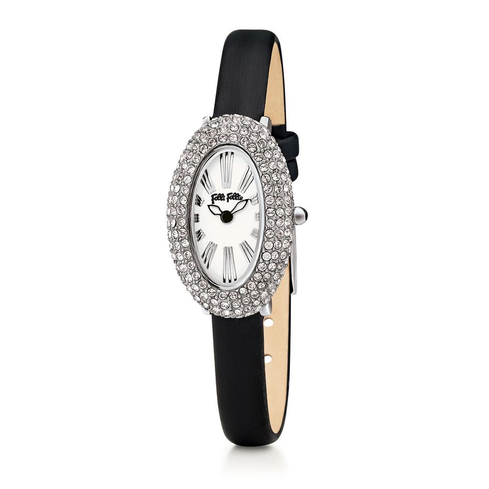 FOLLI FOLLIE - Γυναικείο ρολόι Folli Follie με δερμάτινο λουράκι και κρυστάλλινε γυναικεία αξεσουάρ ρολόγια δερμάτινα