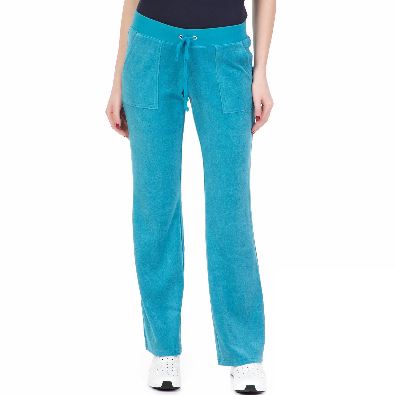JUICY COUTURE - Γυναικεία φόρμα MICROTERRY DEL REY PANT JUICY COUTURE γαλάζια γυναικεία ρούχα παντελόνια φόρμες