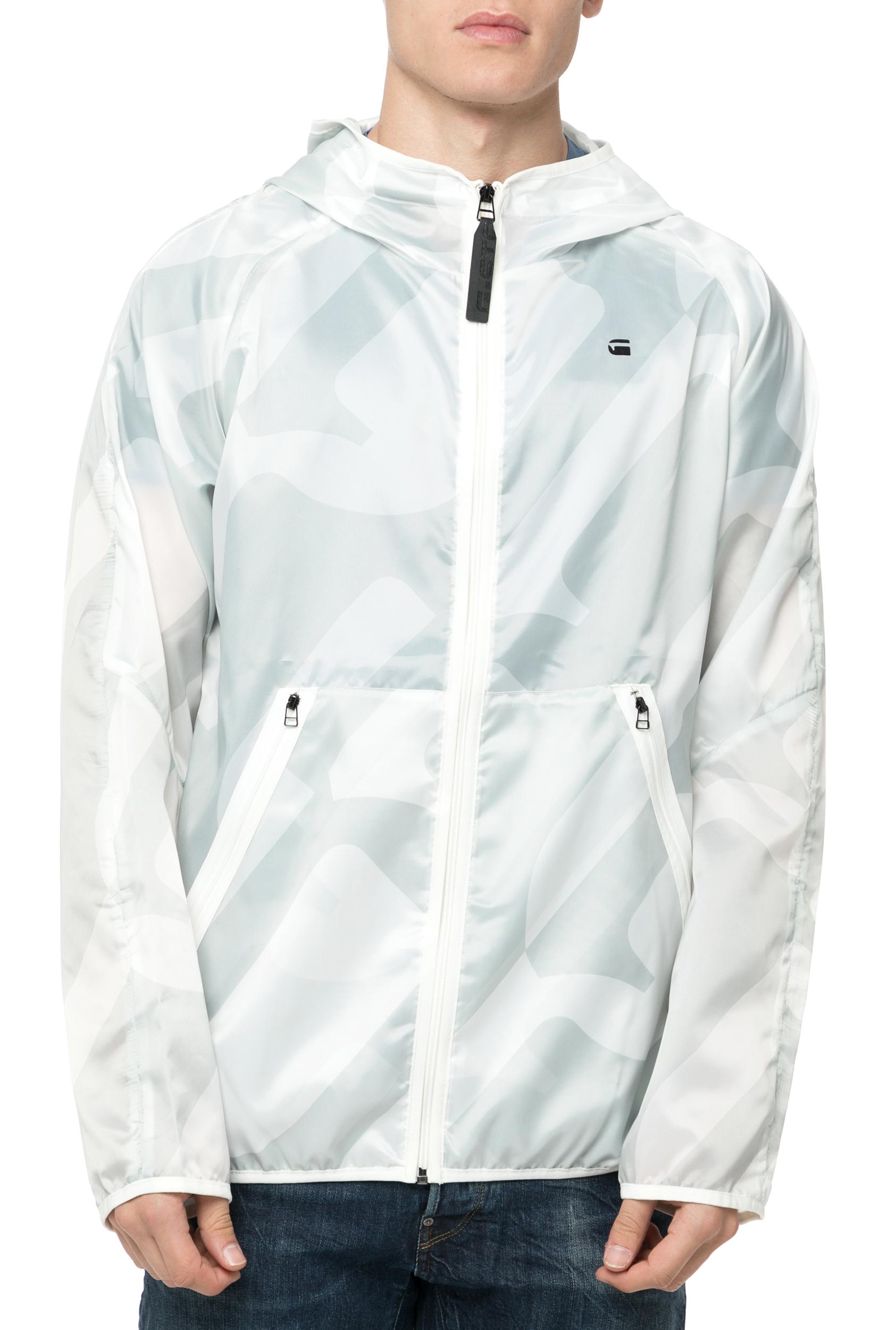 G-STAR RAW - Ανδρικό τζάκετ Strett Hooded Overshirt & Gymbag λευκό-γκρι