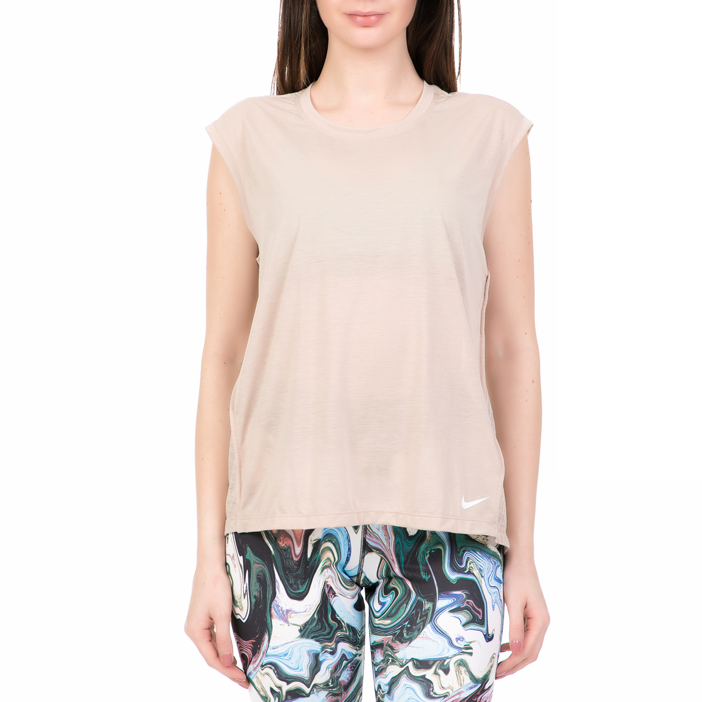 NIKE - Γυναικεία αμάνικη μπλούζα NIKE BREATHE εκρού γυναικεία ρούχα μπλούζες αμάνικες