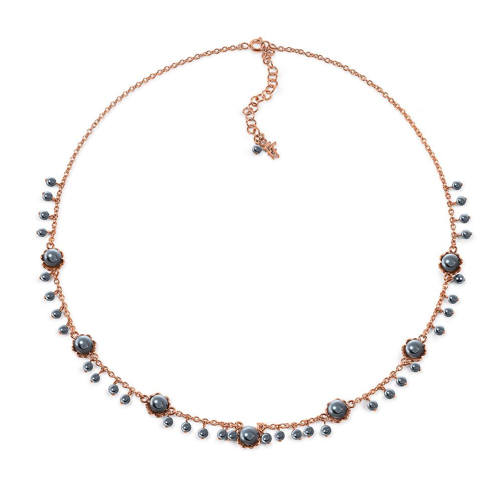 FOLLI FOLLIE - Γυναικείο επίχρυσο κολιέ FLEUR MUSE με γκρι πέρλες γυναικεία αξεσουάρ κοσμήματα κολιέ