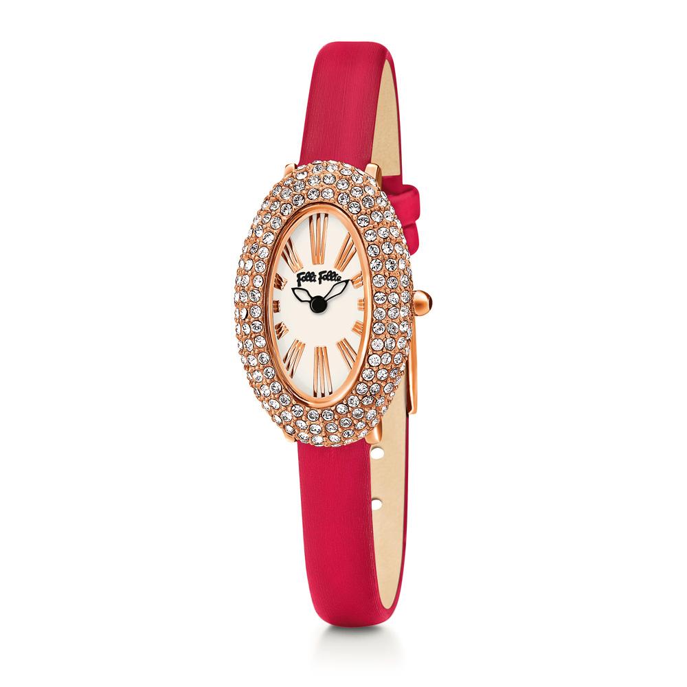 FOLLI FOLLIE - Γυναικείο οβάλ ρολόι Folli Follie με δερμάτινο λουράκι κόκκινο γυναικεία αξεσουάρ ρολόγια δερμάτινα