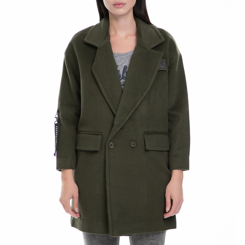 FUNKY BUDDA - Γυναικείο παλτό FUNKY BUDDA χακί γυναικεία ρούχα πανωφόρια παλτό
