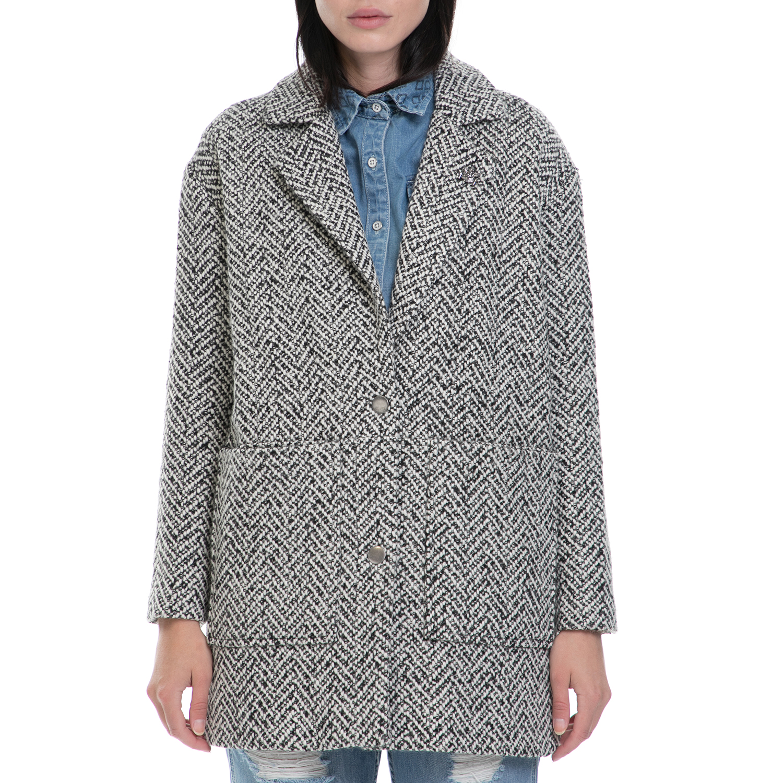 FUNKY BUDDHA - Γυναικείο παλτό FUNKY BUDDHA λευκό-μαύρο γυναικεία ρούχα πανωφόρια παλτό