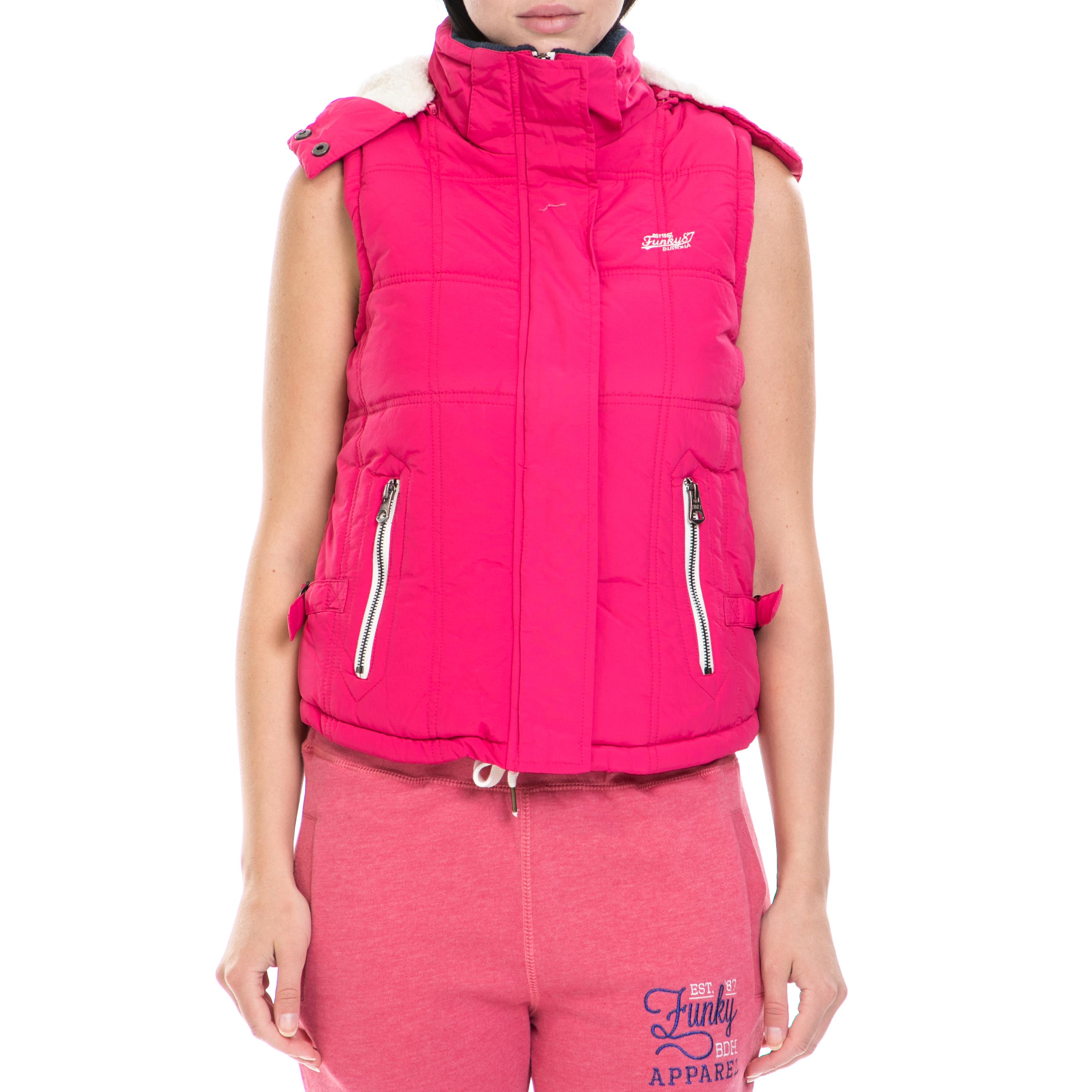 32b1cee41dc2 FUNKY BUDDHA – Γυναικείο αμάνικο μπουφάν FUNKY BUDDHA ροζ. Factory Outlet