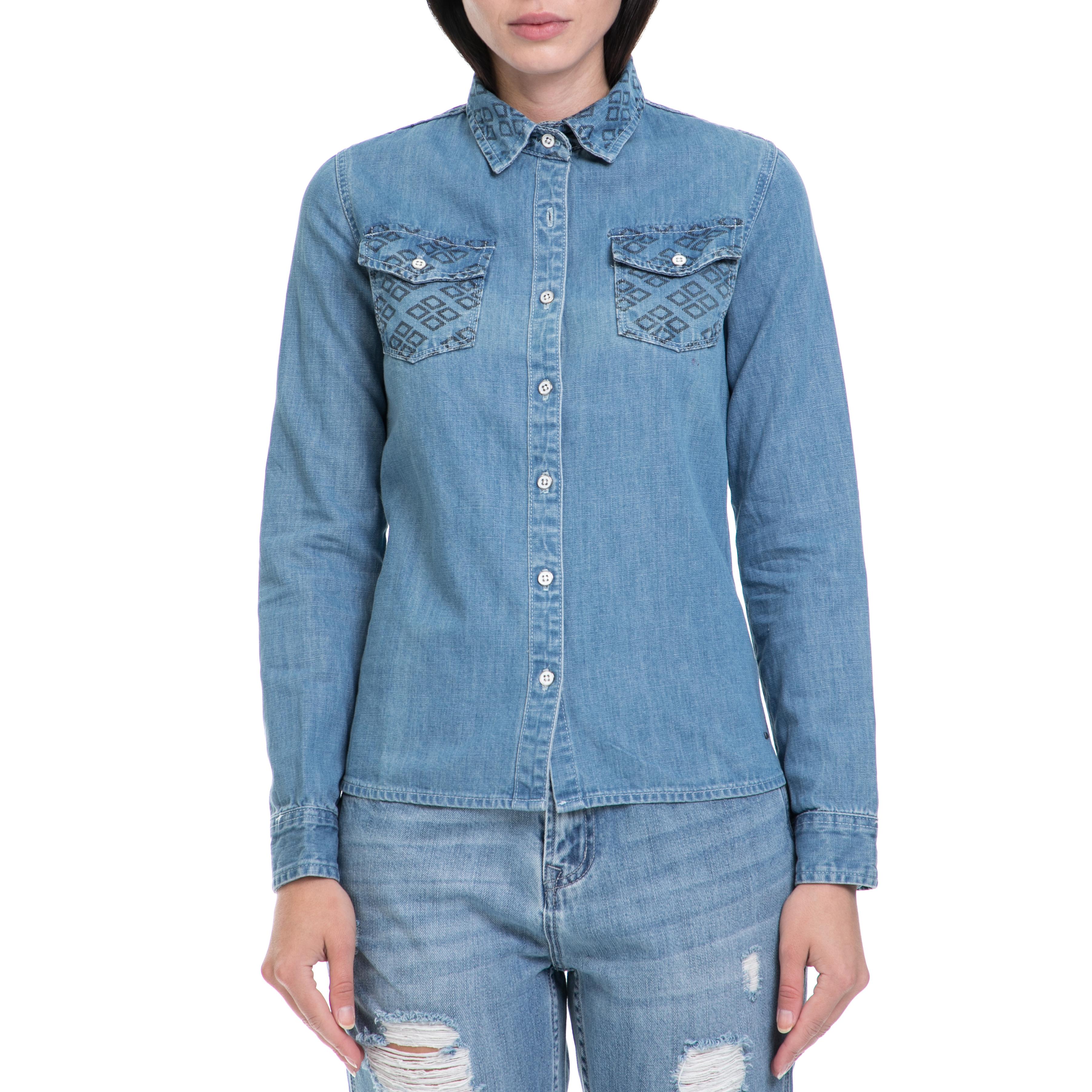 36a7004352c1 FUNKY BUDDHA - Γυναικείο πουκάμισο FUNKY BUDDHA μπλε