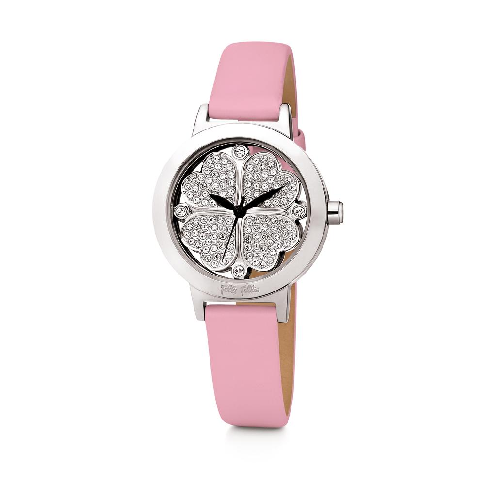 e32946b7d3 FOLLI FOLLIE - Γυναικείο δερμάτινο ρολόι FOLLI FOLLIE HEART 4 HEART ροζ
