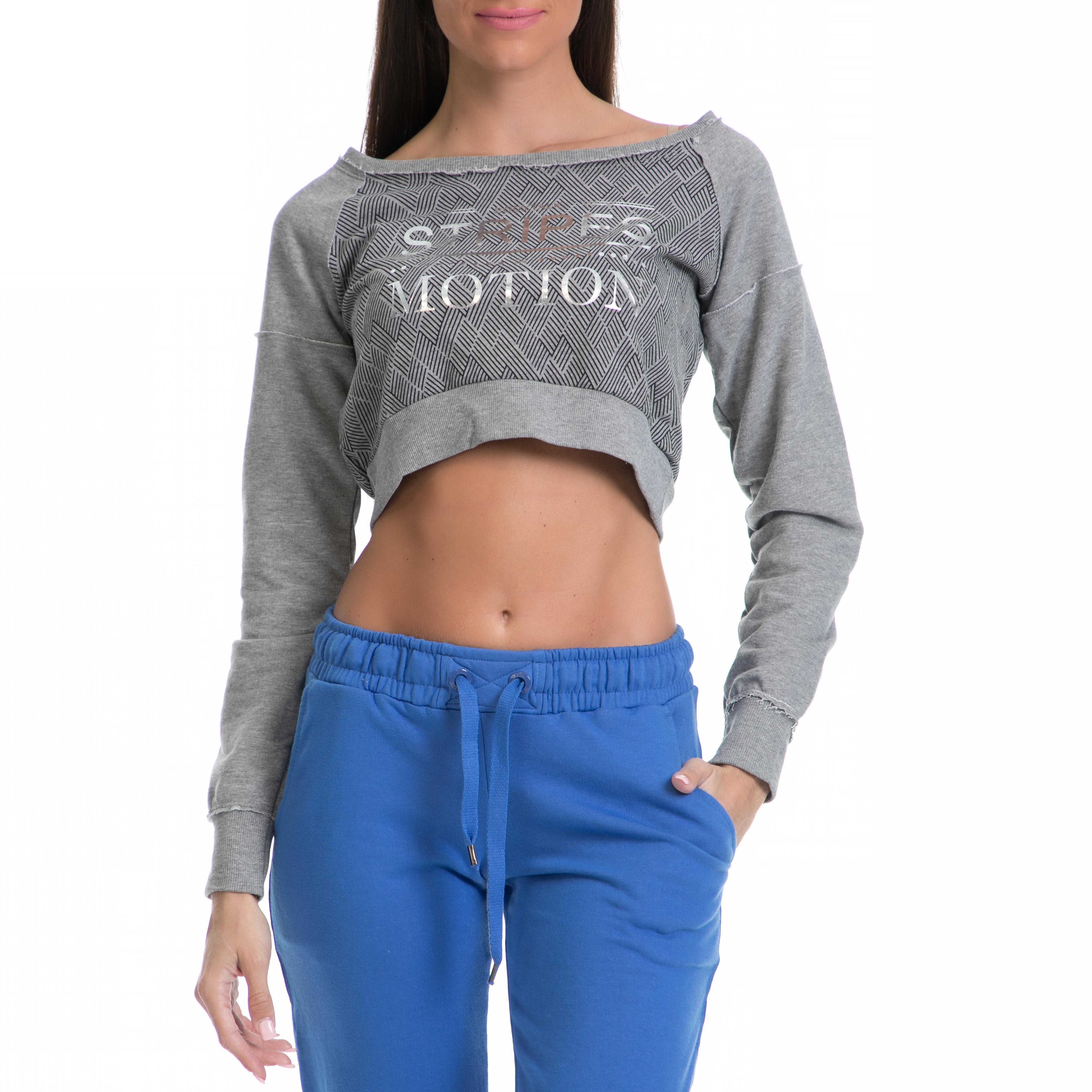 BODYTALK - Γυναικεία μπλούζα BODYTALK γκρι γυναικεία ρούχα αθλητικά φούτερ μακρυμάνικα
