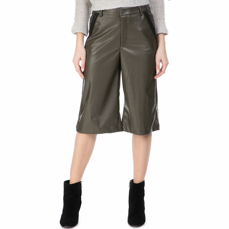 MYMOO - Γυναικεία ζιπ κιλότ MYMOO λαδί γυναικεία ρούχα παντελόνια cropped