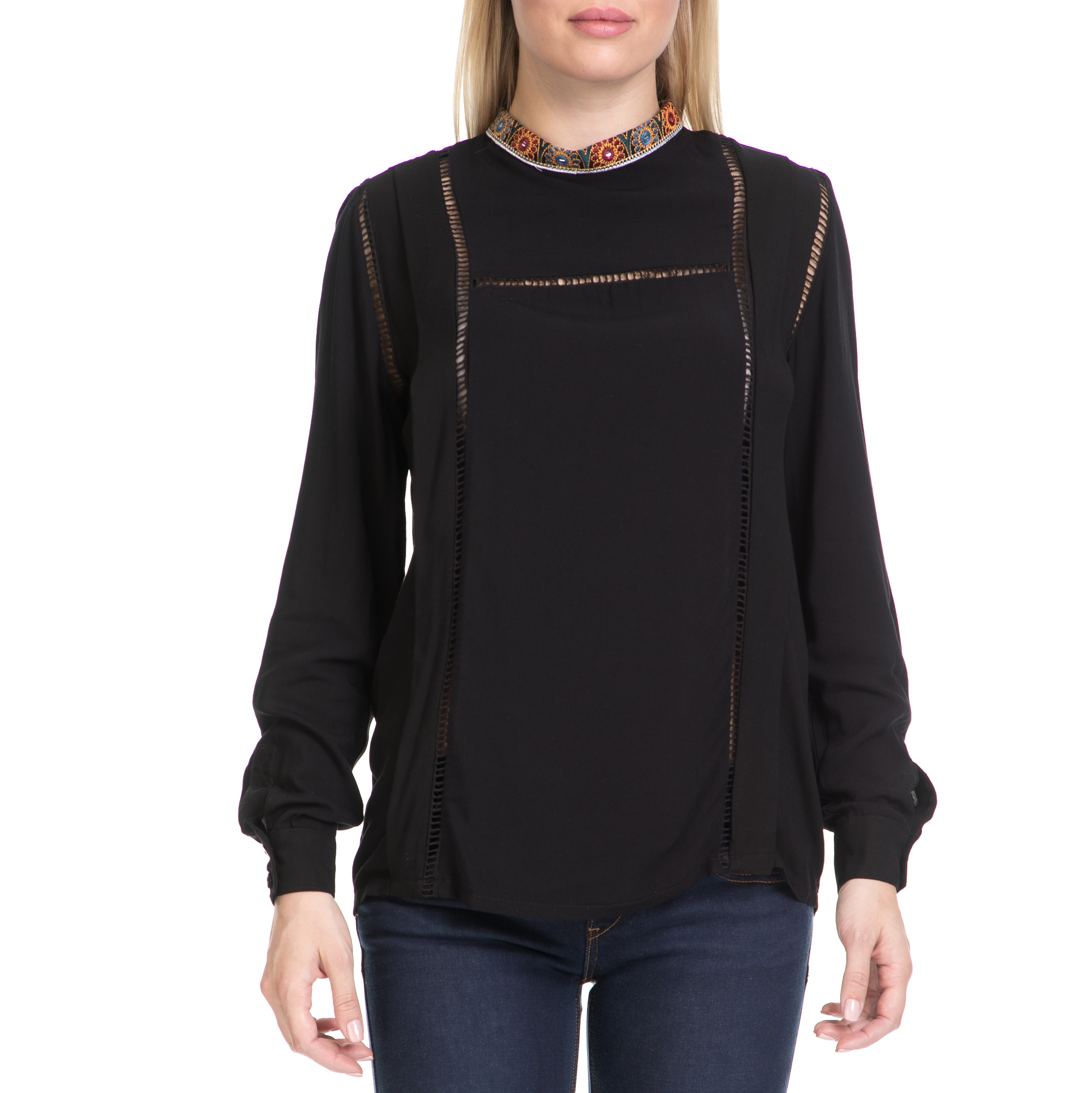 MYMOO - Γυναικεία μπλούζα MYMOO μαύρη γυναικεία ρούχα μπλούζες μακρυμάνικα