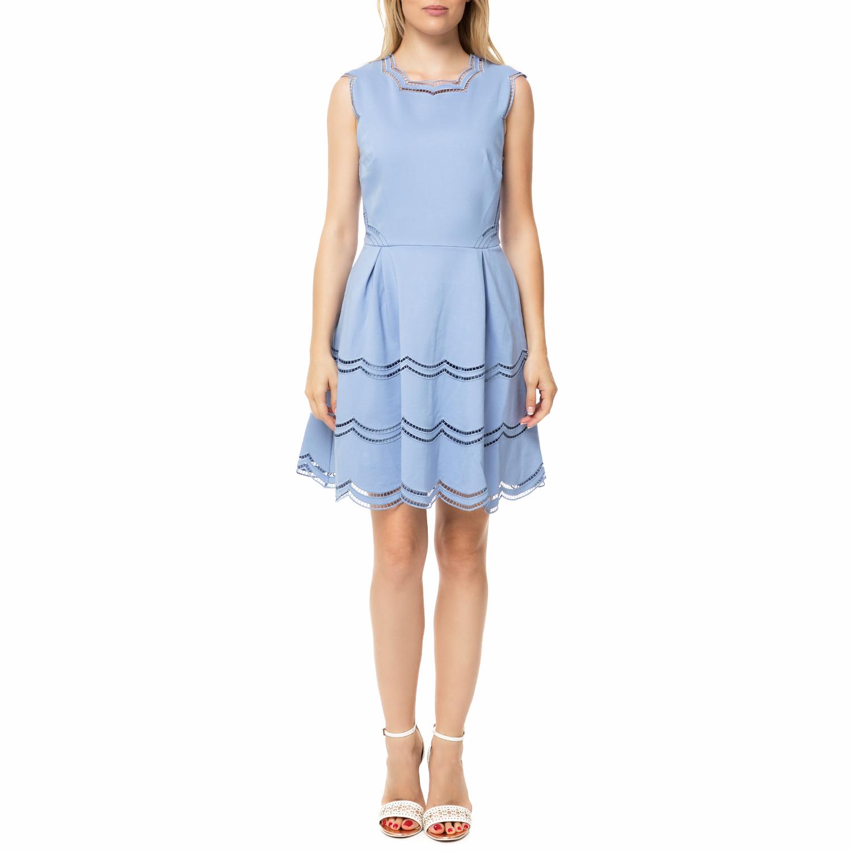 TED BAKER - Γυναικείο μίνι φόρεμα TED BAKER CAMMEY EMBROIDERED TIERED γαλάζιο γυναικεία ρούχα φορέματα μίνι