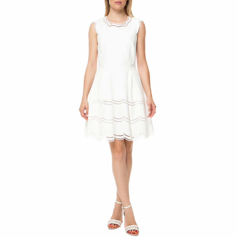 TED BAKER - Γυναικείο μίνι φόρεμα TED BAKER CAMMEY EMBROIDERED TIERED εκρού γυναικεία ρούχα φορέματα μίνι