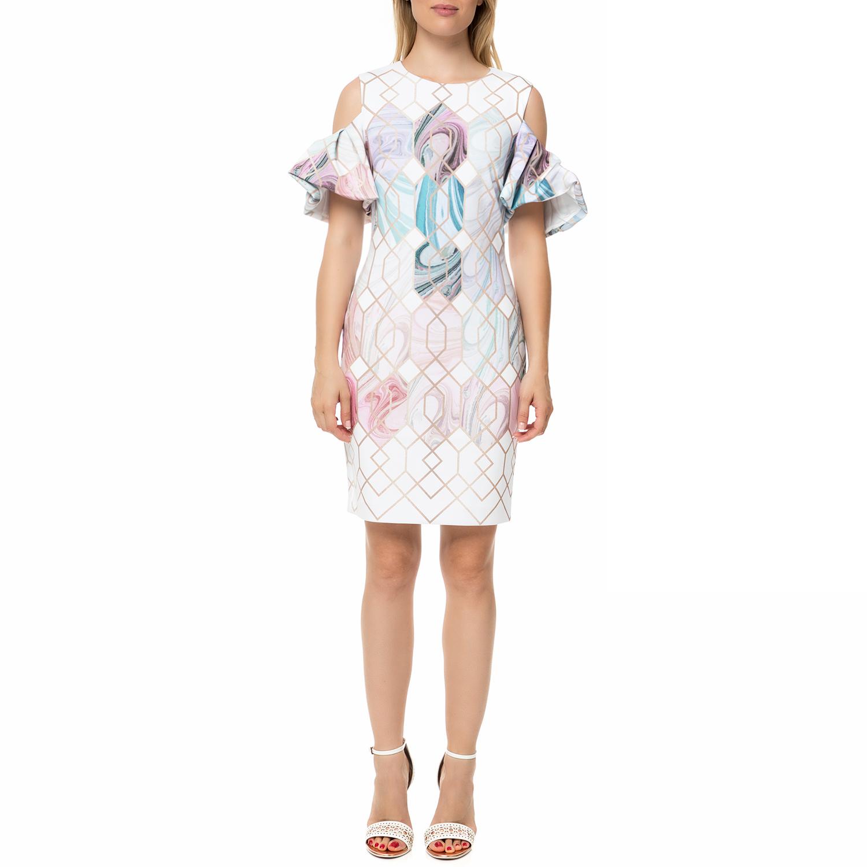 5b70382b71 TED BAKER – Γυναικείο μίνι φόρεμα TED BAKER KRIMBA SEA OF CLOUDS PENCIL  λευκό με σχέδιο